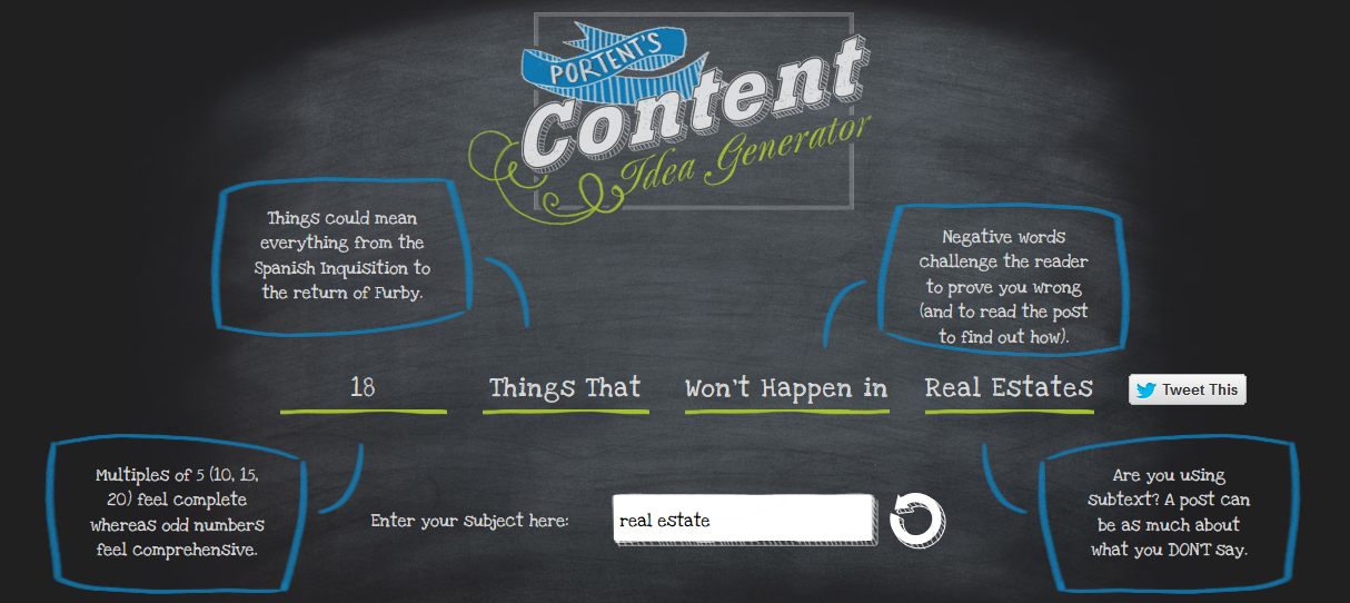 Combat writer 39 s block with these blog topic generators for Combat portent 2014 review