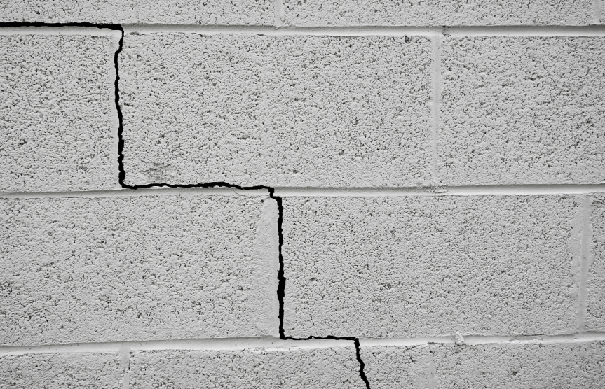Crack in a cinder block building foundation