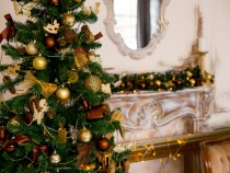 Christmas interior in gold color
