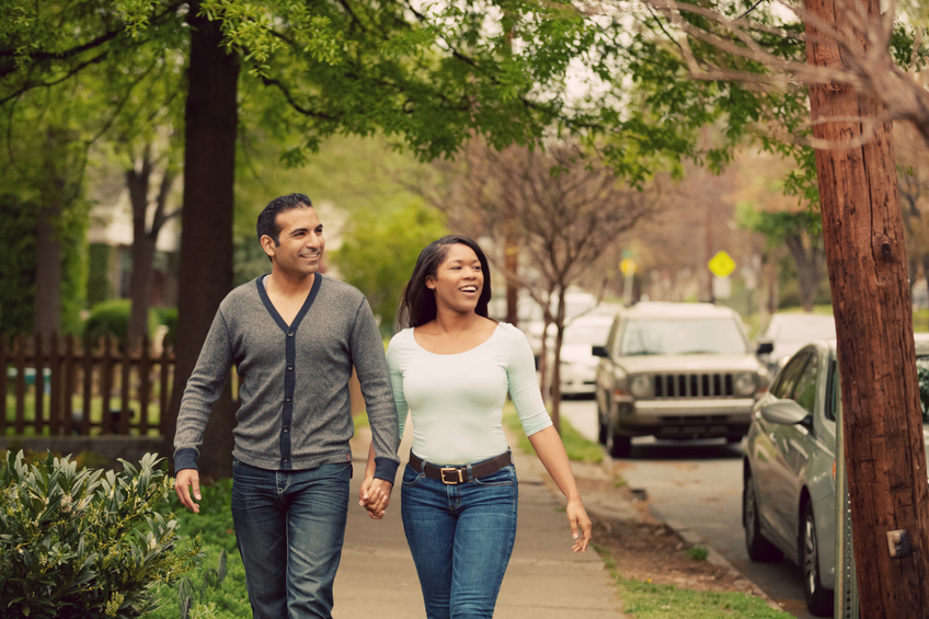 couple walking town