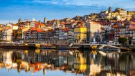 Oporto Ribeira reflections on Douro River, Portugal.