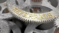 The inscription REFERRALS on the gear of the clock mechanism, 3d illustration